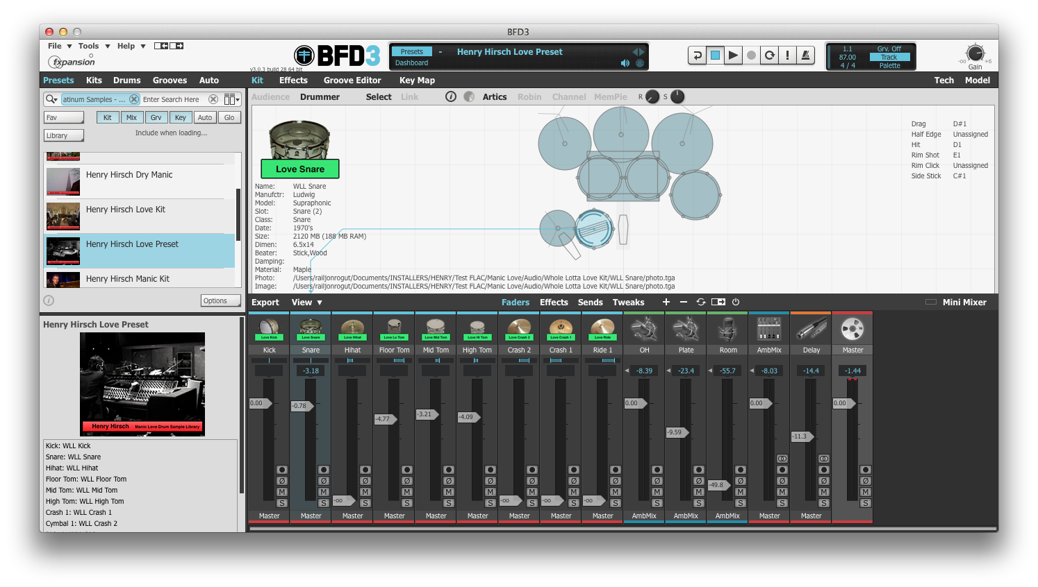 Platinum Samples Henry Hirsch Manic Love Drum Sample Library for BFD
